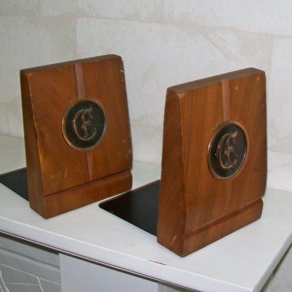 Pair Vintage Bookends Wood Metal Copper